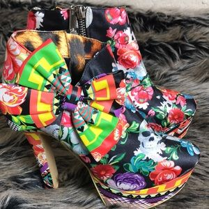 Iron Fist Sayin Skull & Floral Boots with Bow
